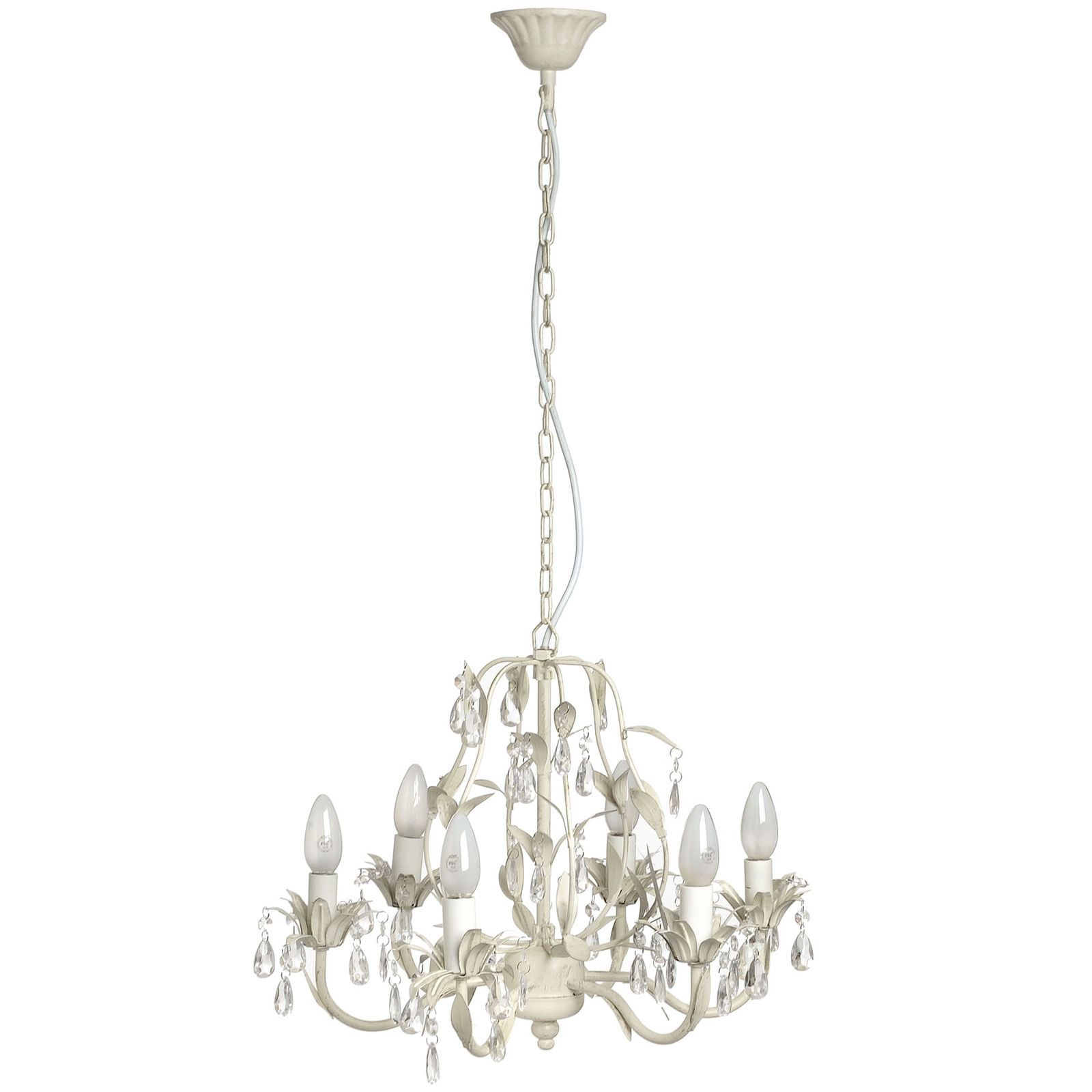 6 Light Arm Chandelier Ceiling Pendant Crystal Effect Shabby French Chic Cream